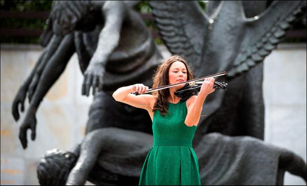 Patricia Treacy of the Cross Border Orchestra of Ireland who played at the Ceremony of Remembrance 1916 at the Garden of Remembrance yesterday. Picture By David Conachy. 26/03/2016