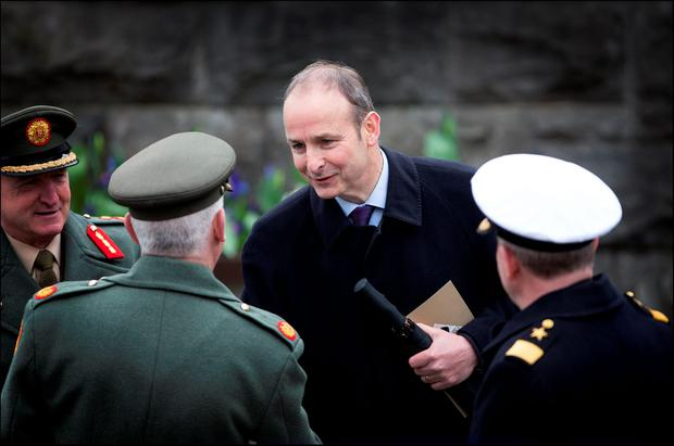 Fianna Fail leader Michael Martin at the Ceremony of Remembrance 1916 at the Garden of Remembrance yesterday. Picture By David Conachy. 26/03/2016