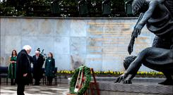 President Michael D Higgens lays a wreath at the Garden of Remembrance yesterday. Picture By David Conachy. 26/03/2016