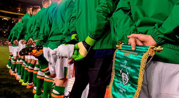 The Republic of Ireland team line out ahead of their friendly against Switzerland. Photo: David Maher / Sportsfile