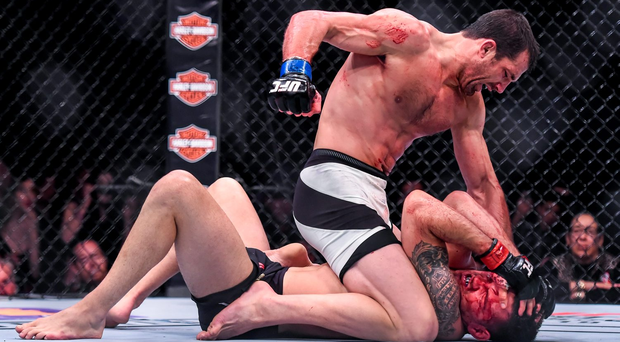 Luke Rockhold unloads on fellow American Chris Weidman during a recent UFC event