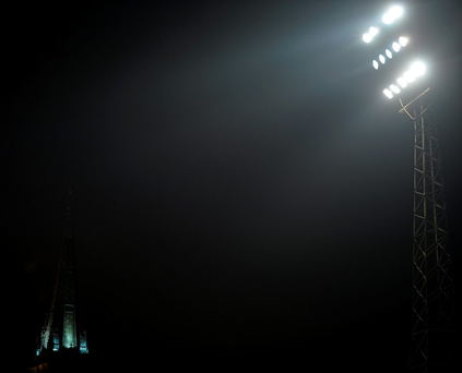 A general view of Dalymount Park floodlights and St Peter's Church in Phibsboro Photo: Piaras Ó Mídheach / SPORTSFILE