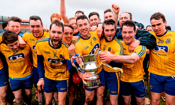 Roscommon players celebrate after yesterday's victory over Monaghan. Photo: Oliver McVeigh / SPORTSFILE