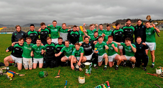 Fermanagh players celebrates following their victory over Longford Photo: Seb Daly / SPORTSFILE