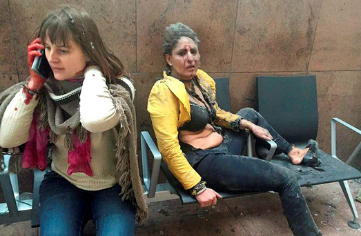 Two women who were injured in the explosions at Zaventem airport near Brussels last week which claimed the lives of 31 people Photo: Reuters