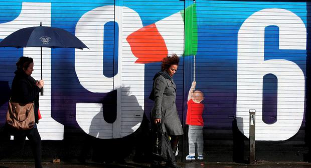 Centenary: A mural in Dublin marking the Rising Photo: Brian Lawless/PA Wire