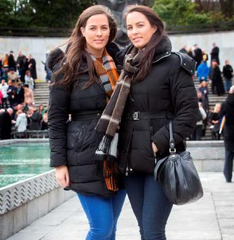 Remembering: Twin sisters Ruth and Sarah Connolly from Bray, Co. Wicklow, are the great granddaughters of James Connolly. They were at the wreath-laying ceremony in The Garden of Remebrance yesterday. Photo: Tony Gavin