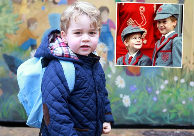 Prince George on his first day at Montessori and (right) Prince William and Prince Harry at Wetherby Preparatory School