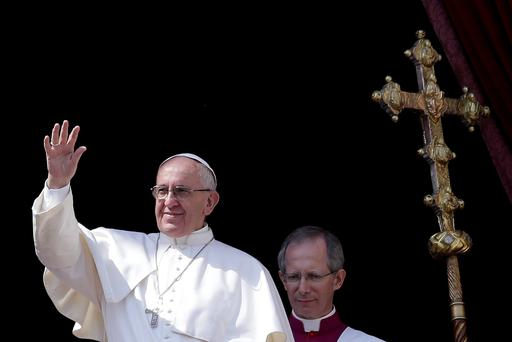 Pope Francis delivers the Urbi et Orbi benediction at the end of the Easter Mass in Saint Peter's Square at the Vatican March 27, 2016. REUTERS/Max Rossi