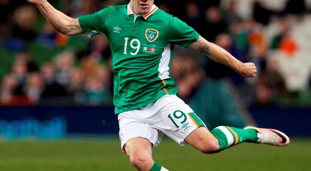 Republic of Ireland's Robbie Brady during the International Friendly against Switzerland at the Aviva Stadium