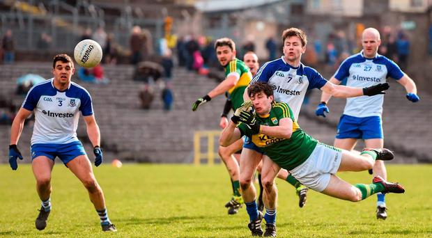 Paul Geaney, Kerry, in action against Karl O'Connell, Monaghan. Allianz Football League Division 1 Round 6, Monaghan v Kerry. St Tiernach's Park, Clones, Co. Monaghan. Picture credit: Stephen McCarthy / SPORTSFILE