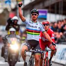 World champion Peter Sagan of Tinkoff wins his first race in the rainbow jersey by outsprinting his breakaway companions at yesterday's Gent-Wevelgem one day race in Belgium Photo: Getty