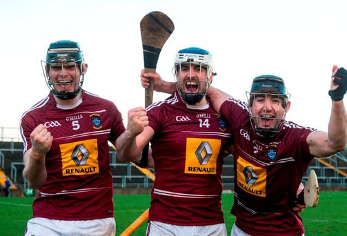 Westmeath's Aaron Craig, Brendan Murtagh and Alan McGrath celebrate after the game. Photo: Piaras Ó Mídheach / Sportsfile