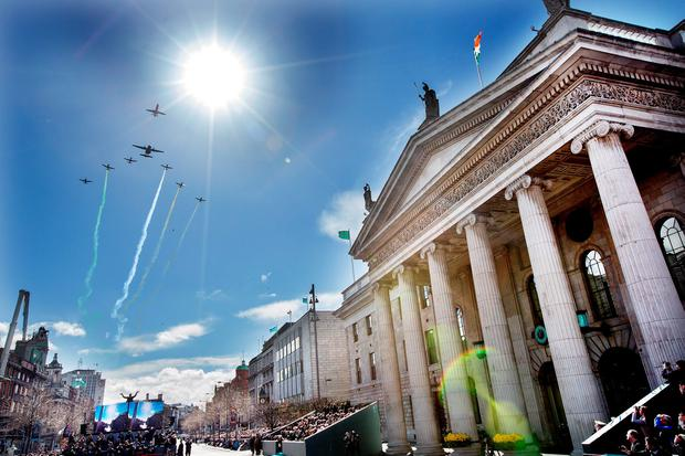 The Air Corps stages a flyby above the GPO. Photo: Tony Gavin