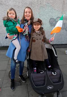 Carmel Kelly, from Rathmines, with her daughters Casey (5), right, and Juno (3) Daniels. Photo: Damien Eagers