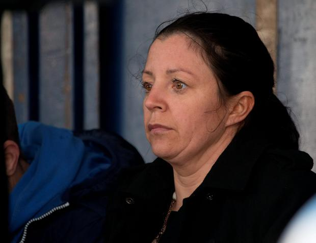 An emotional Louise James at a vigil in Buncrana in March. (North WEst Newspix)