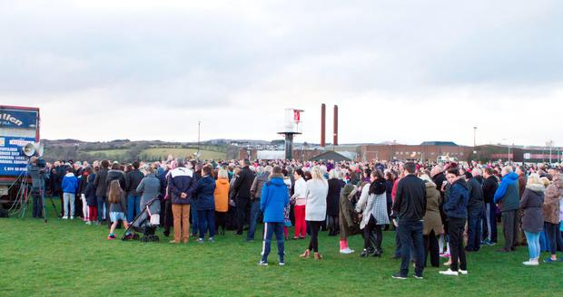 Some of the large crowd who attended the vigil in Buncrana. (North West Newspix)