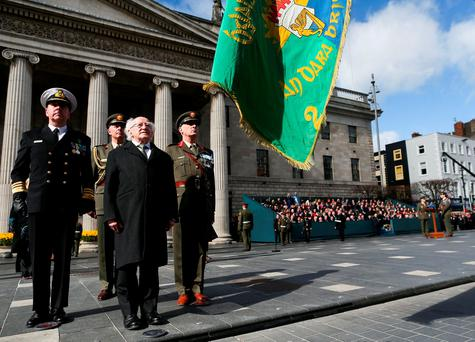 President Michael D. Higgins at the Easter Sunday Commemoration Ceremony at the GPO. Photo: Maxwells