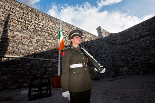 Cadet Kelly Smyth at Kilmainham Gaol in Dublin, where the leaders of the 1916 Easter Rising were executed. Photo: Mark Condren