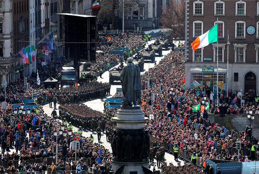 The Easter Sunday Parade makes its way along Westmoreland Street on to O'Connell Bridge. Photo: Gerry Mooney