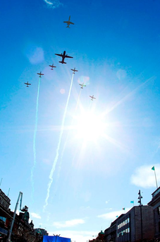 Flyover by the Air Force seen from O'Connell Street. Photo: Getty Images