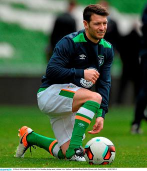 Republic of Ireland's Wes Hoolahan during squad training. Aviva Stadium, Lansdowne Road, Dublin. Picture credit: David Maher / SPORTSFILE