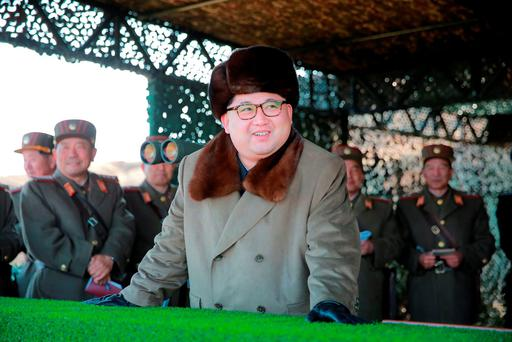 North Korean leader Kim Jong Un watches landing and anti-landing exercises being carried out by the Korean People's Army (KPA)