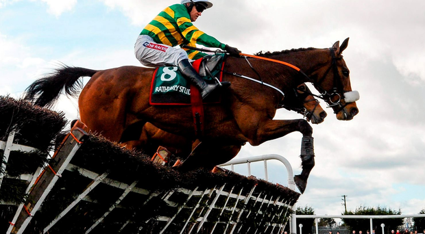 28 March 2016; Sutton Place, with Barry Geraghty up, jump the last on their way to winning the Rathbarry & Glenview Studs Novice Hurdle. Horse Racing - Fairyhouse Easter Festival. Fairyhouse, Co. Meath. Picture credit: Cody Glenn / SPORTSFILE