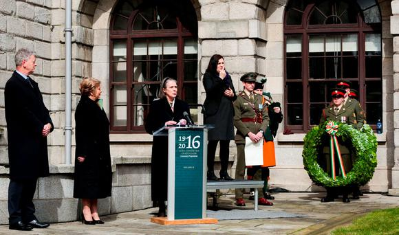 1916 Centenary Commemorations: Four Courts, Wreath Laying Ceremony. Easter Monday. Pic Shows: Chief Justice of Ireland, Mrs. Justice Susan Denham speaking at a wreath laying ceremony at the Four Courts in Dublin on Easter Monday Photo: Maxwells