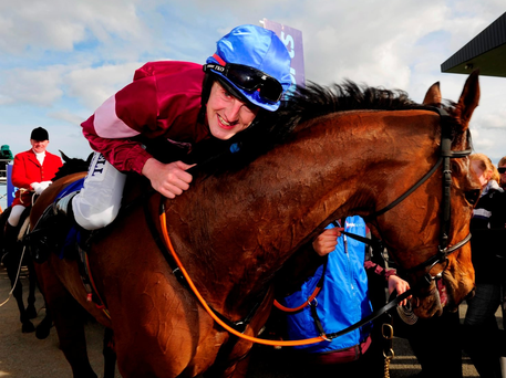 Fairyhouse 28-3-16 ROGUE ANGEL & local jockey Ger Fox return to the winners enclosure after winning the Boylesports irish Grand National(WWW.HEALYRACING.IE)