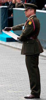 Capt Peter Kelleher reads the Proclamation on Sunday Photo: Colin Keegan, Collins Dublin