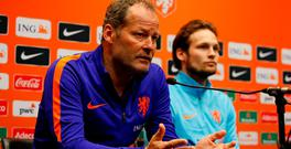 Netherlands coach Danny Blind with his son Daley in a press conference ahead of tonight's game against England. Photo: Reuters