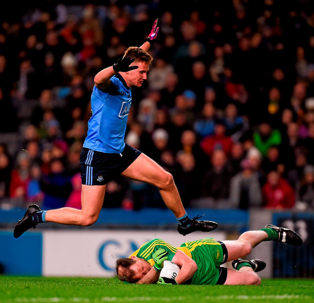 Ciarán Kilkenny in action for Dublin against Donegal's Anthony Thompson, at Croke Park on Saturday night. Photo: Sportsfile