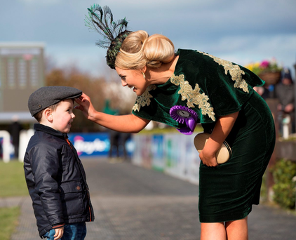 Emma Hanratty, who won Most Stylish Lady, with her son Oliver Photo: Andres Poveda