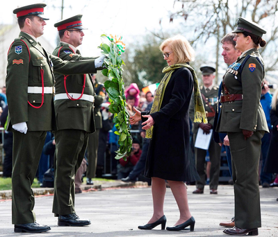 Minister for Education Jan O'Sullivan TD lays a wreath at the Athenry ceremony Photo: Andrew Downes
