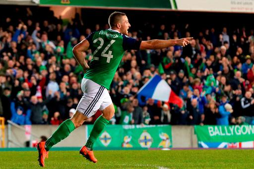 Northern Ireland's Conor Washington celebrates scoring his side's winner. Photo: PA