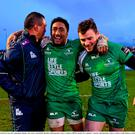 Connacht head coach Pat Lam, left, congrtulates Bundee Aki, centre, and Robbie Henshaw following their victory