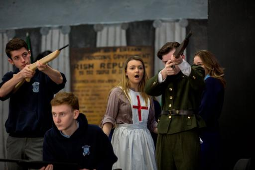 Malahide Community School students during rehearsals for their recent 1916 Proclamation school play. 'The opportunities available to teenagers today are almost unbelievable compared to 100 years ago.' Photo: Mark Condren