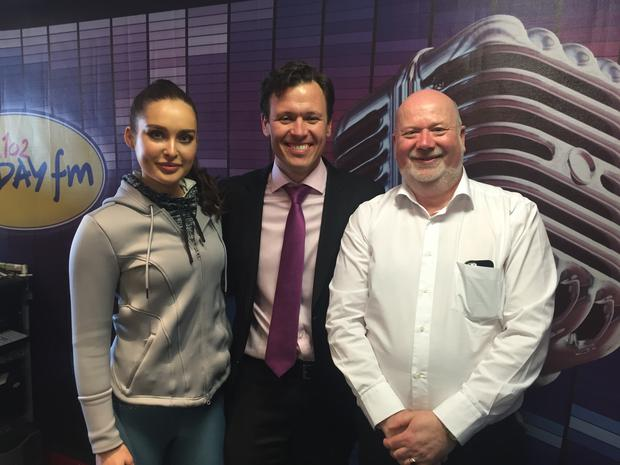Rozanna Purcell with Anton Savage and David Fay.