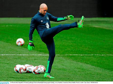 Ireland goalkeeper Darren Randolph during squad training