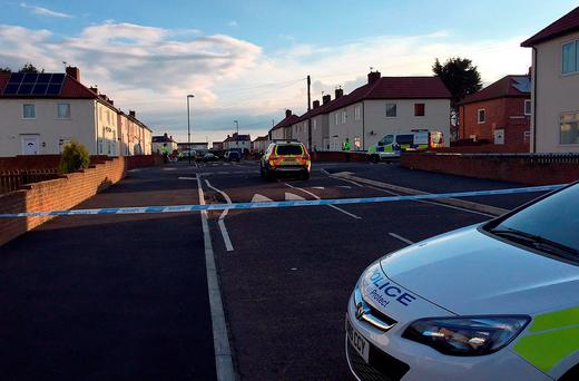 Police at the scene in Frenchmans Way, South Shields, South Tyneside, where police shot a man Credit: Tom Wilkinson/PA Wire