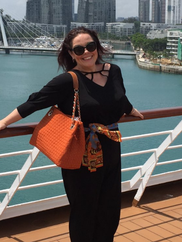 Lisa Riley shows off her incredible weight loss during a recent trip to Singapore. Photo: Twitter