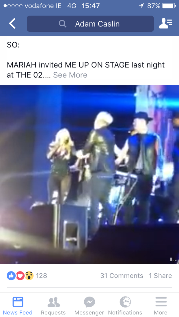 Adam Caslin captured the moment Mariah Carey invited him on stage at the O2 Arena in London. Photo: Facebook