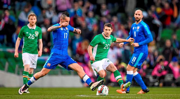 29 March 2016; Wes Hoolahan, Republic of Ireland, in action against Marek Hamšík, Slovakia. 3 International Friendly, Republic of Ireland v Slovakia. Aviva Stadium, Lansdowne Road, Dublin. Picture credit: Brendan Moran / SPORTSFILE