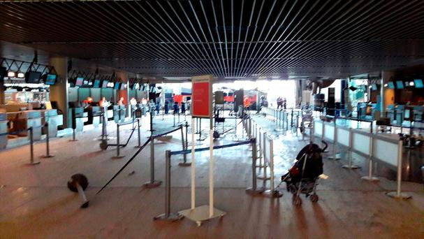 Damage is seen inside the departure terminal following the March 22, 2016 bombing at Zaventem Airport