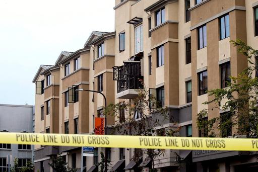 The scene of the Berkeley balcony tragedy which claimed the lives of six young Irish students: Ashley Donohoe, Olivia Burke, Lorcan Miller, Eoghan Culligan, Nick Schuster, and Eimear Walsh. REUTERS/Elijah Nouvelage
