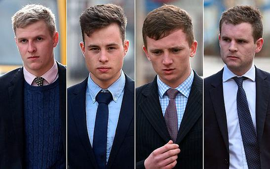 Thady Duff, 22, James Martin, 20, Leo Mahon, 22, and 22-year-old Patrick Foster arrive at Gloucester Crown Court Photo: Andrew Matthews/PA