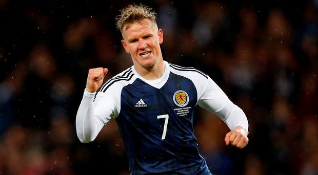 Scotland's Matt Ritchie celebrates scoring their first goal Action Images via Reuters / Lee Smith