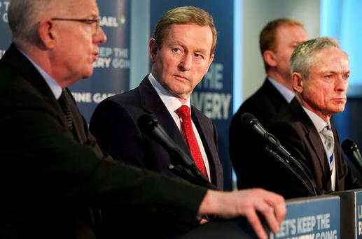 Taoiseach Enda Kenny with Minister for Foreign Affairs Charlie Flanagan, Minister for Jobs Richard Bruton and Minister of State Paudie Coffey at the launch of the Construction 2020 Strategy last month. Photo: Steve Humphreys