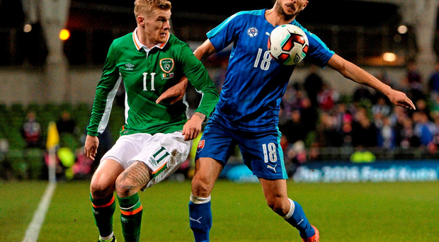 29 March 2016; Dušan Švento, Slovakia, in action against James McClean, Republic of Ireland. 3 International Friendly, Republic of Ireland v Slovakia. Aviva Stadium, Lansdowne Road, Dublin. Picture credit: David Maher / SPORTSFILE